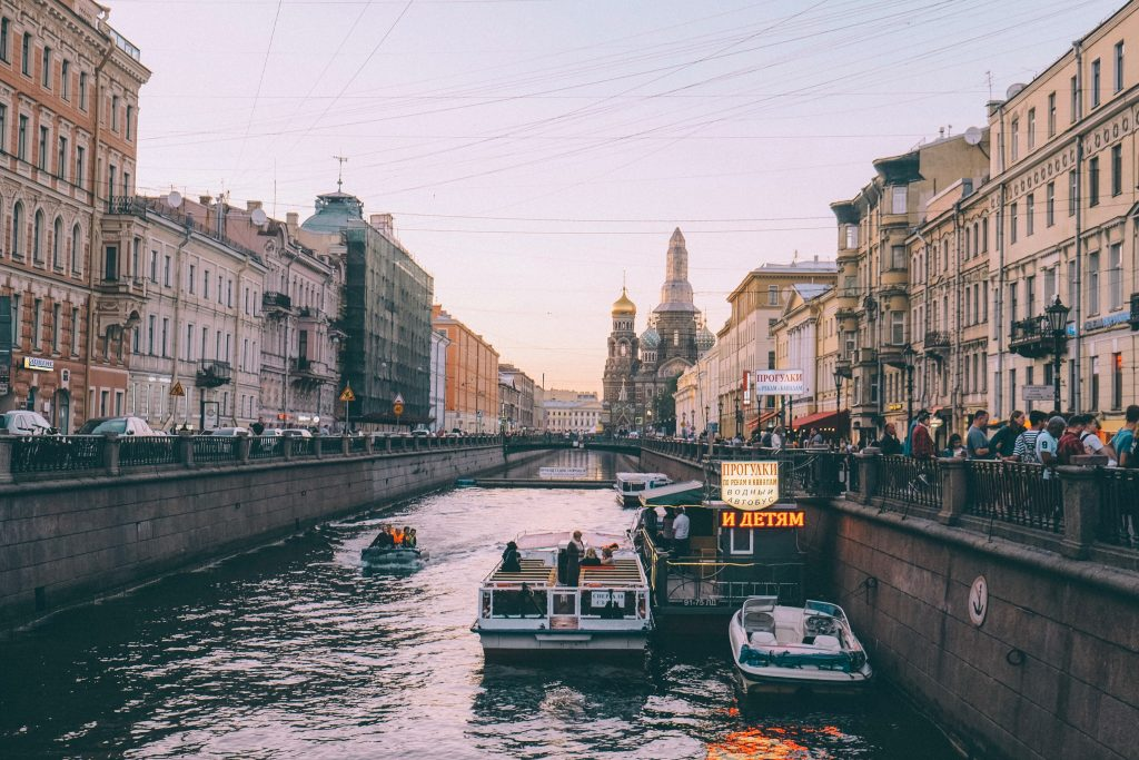 Griboyedov Canal overlooking Savior on the Spilled Blood church in St. Petersburg, Russia