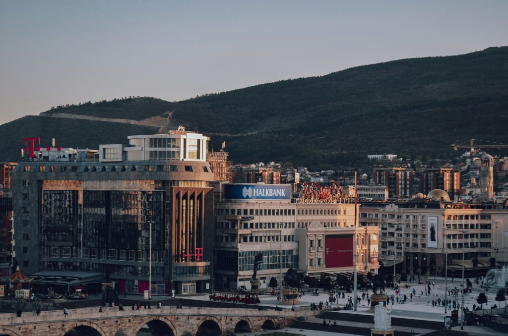 Arial view of downtown Skopje, North Macedonia