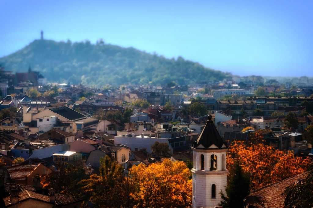 Ariel view over one of the cheapest cities Europe - Plovdiv, Bulgaria