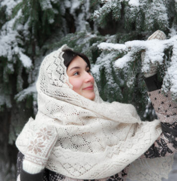Russian woman dressed for winter
