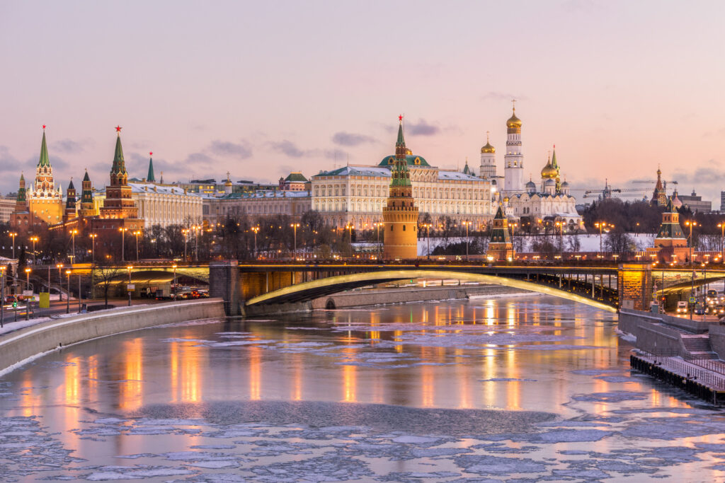 View of the Kremlin in Moscow during winter