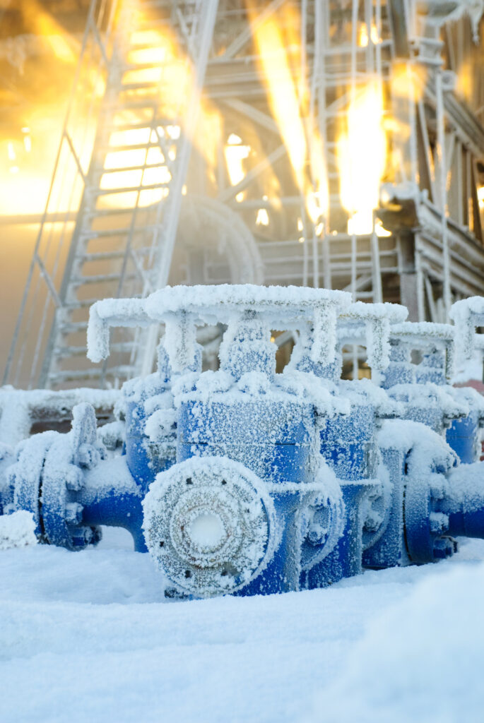 Frozen oil and gas equipment in Siberia